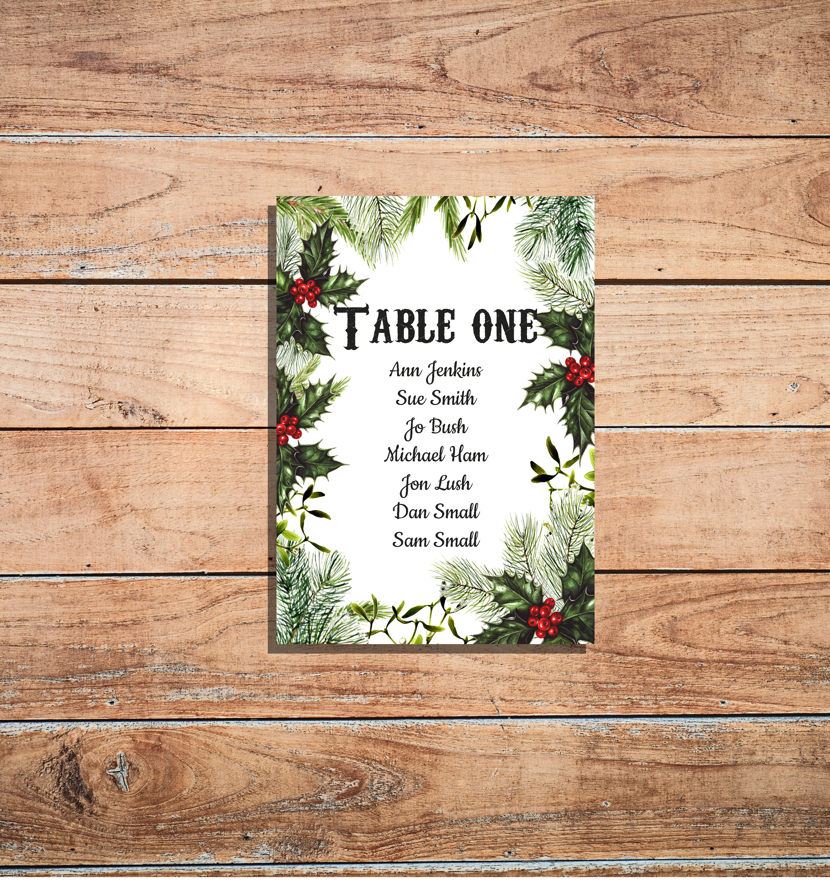 Festive Seating Plan Cards